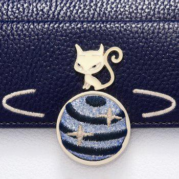 Color Block Embroidery Fox Wallet - DEEP BLUE
