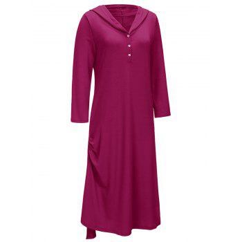 Side Ruched Casual Hooded Dress - Bordeaux XL