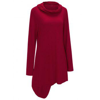 Cowl Neck Asymmetric Sweatshirt Dress - RED L
