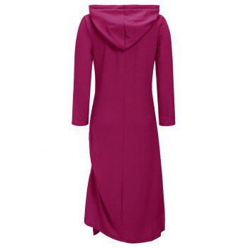 Side Ruched Casual Hooded Dress - Bordeaux 2XL
