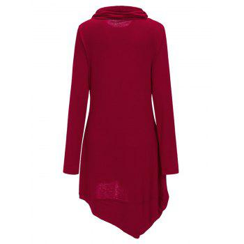 Cowl Neck Asymmetric Sweatshirt Dress - RED XL