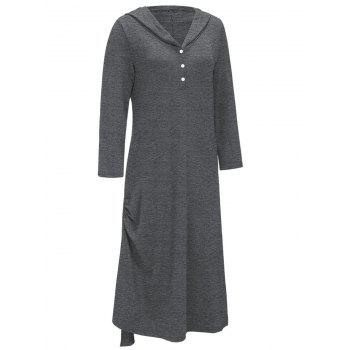 Side Ruched Casual Hooded Dress - Gris 2XL