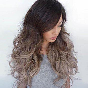 Long Side Bang Fluffy Ombre Wavy Synthetic Wig - GRADIENT COLOR GRADIENT COLOR