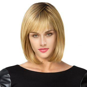 Short See Through Fringe Straight Bob Colormix Human Hair Wig - COLORMIX COLORMIX