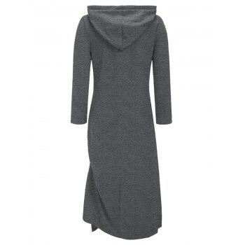 Side Ruched Casual Hooded Dress - Gris M