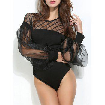 Mesh Panel Puff Sleeve Sheer Bodysuit - L L