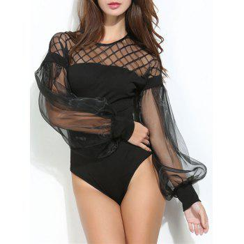 Mesh Panel Puff Sleeve Sheer Bodysuit - BLACK L