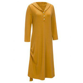 Side Ruched Casual Hooded Dress - Jaune XL