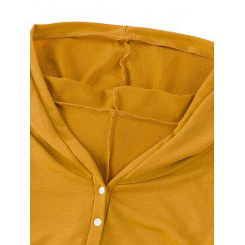 Side Ruched Casual Hooded Dress - Jaune L