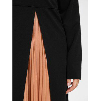 Plus Size Tank Pleated Dress with Long Sleeve Slit Dress - COFFEE/BLACK 5XL