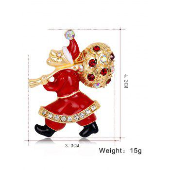 Rhinestone Christmas Santa Gift Brooch -  RED