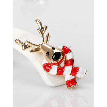 Christmas Elk Candy Cane Tiny Brooch -  RED
