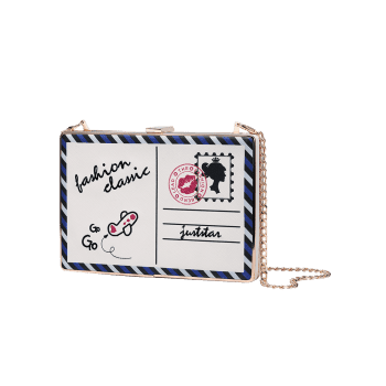Postcard Box Chain Crossbody Bag -  WHITE