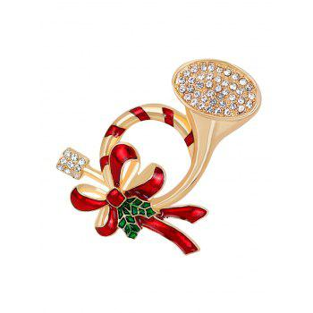 Rhinestone Christmas Bows Brooch - RED RED