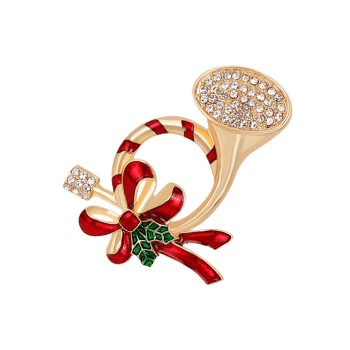 Rhinestone Christmas Bows Brooch -  RED
