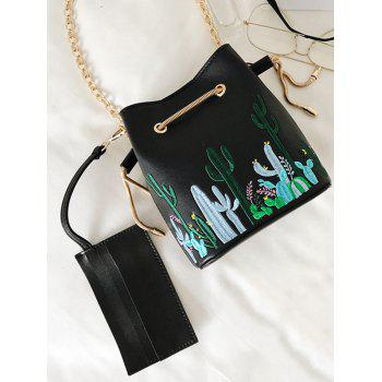 Drawstring Embroidery Chain Crossbody Bag - BLACK