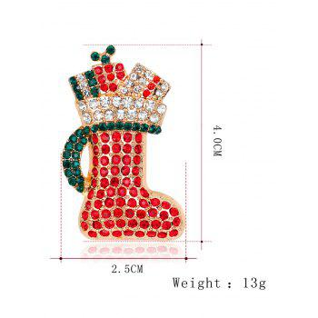 Rhinestone Christmas Shoe Tiny Brooch - RED