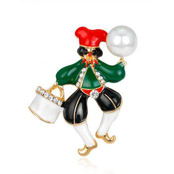 Christmas Faux Pearl Rhinestone Clown Brooch - GREEN GREEN