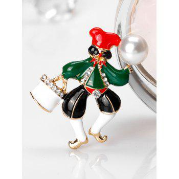 Christmas Faux Pearl Rhinestone Clown Brooch - GREEN