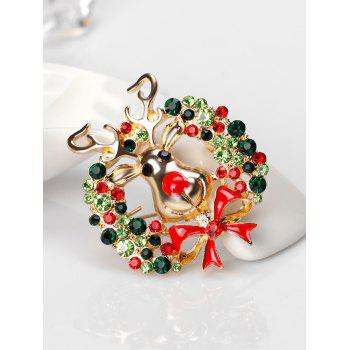 Christmas Rhinestone Deer Wreath Brooch - GREEN