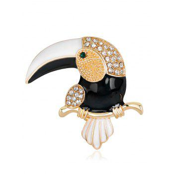 Rhinestone Insert Two Tones Toucan Shape Brooch - WHITE AND BLACK WHITE/BLACK