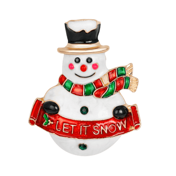 Let It Snow Snowman Shape Brooch - Rouge