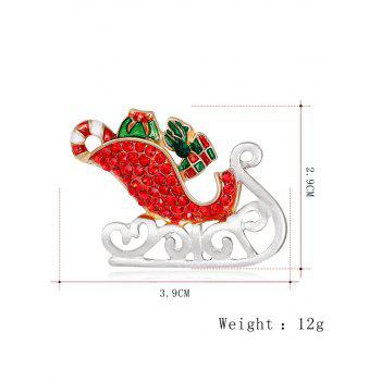 Acrylic Rhinestone Christmas Ice Skates Shape Brooch - RED