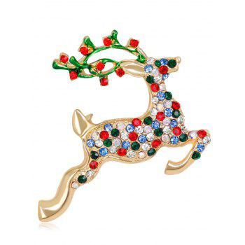 Rhinestone Insert Christmas Saltant Reindeer Brooch - COLORMIX COLORMIX