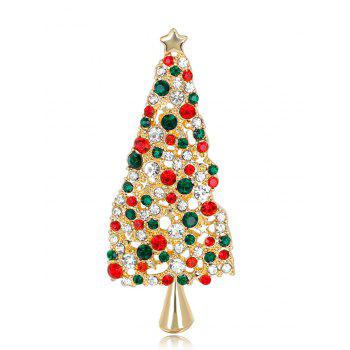 Sparkly Rhinestone Christmas Tree Star Brooch - COLORMIX COLORMIX