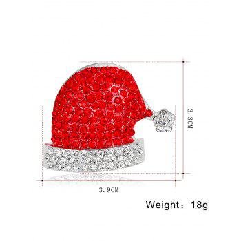 Sparkly Rhinestone Christmas Hat Brooch - RED