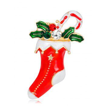 Rhinestone Christmas Stocking Gift Leaf Brooch - RED RED