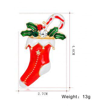 Rhinestone Christmas Stocking Gift Leaf Brooch -  RED