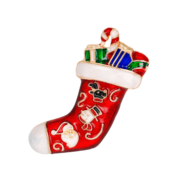Full Gift Christmas Sock Shape Brooch - RED