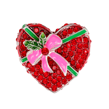 Heart Shape Gift Box Faux Ruby Brooch - RED