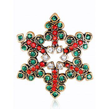 Hollow Out Rhinestones Snowflake Brooch - GREEN GREEN