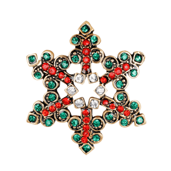 Hollow Out Rhinestones Broche Snowflake - Vert