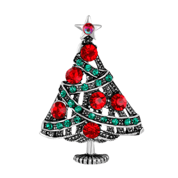 Vintage Rhinestone Christmas Tree Star Brooch -  COLORMIX