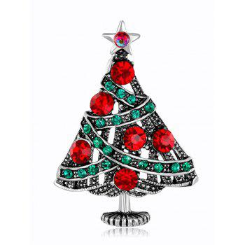 Vintage Rhinestone Christmas Tree Star Brooch - COLORMIX COLORMIX
