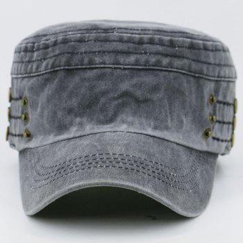 Stud Buttons Decorated Military Hat - PEARL DARK GREY