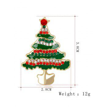 Rhinestone Insert Christmas Tree Brooch - GREEN