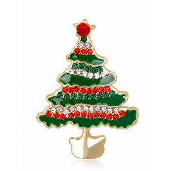 Rhinestone Insert Christmas Tree Brooch - GREEN GREEN