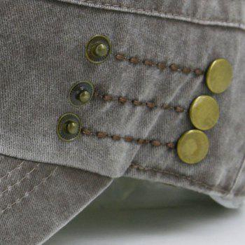Stud Buttons Decorated Military Hat -  COFFEE
