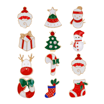 12PCS Rhinestone Christmas Santa Wreath Brooches - COLORMIX