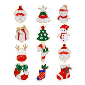 12PCS Rhinestone Christmas Santa Wreath Brooches - COLORMIX COLORMIX