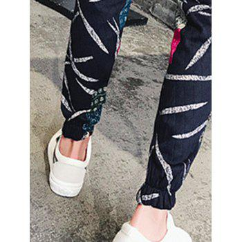 Embossing Leaves and Patches Jogger Pants - L L