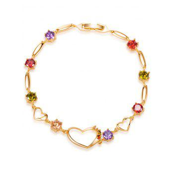 Rhinestones Hollow Heart Bracelet - COLORFUL COLORFUL
