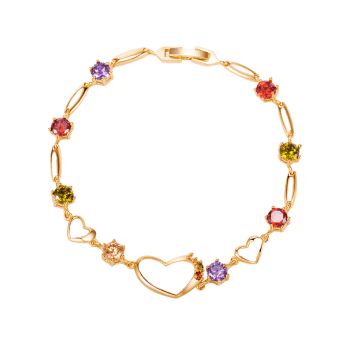 Rhinestones Hollow Heart Bracelet - COLORFUL