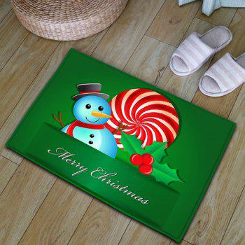 Snowman Christmas Thickening Flannel Area Rug - GREEN GREEN