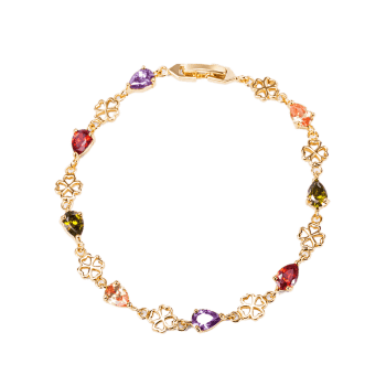 Water Drop Rhinestones Flower Bracelet - Coloré
