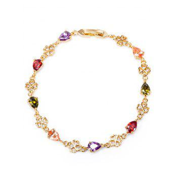 Water Drop Rhinestones Flower Bracelet - COLORFUL COLORFUL